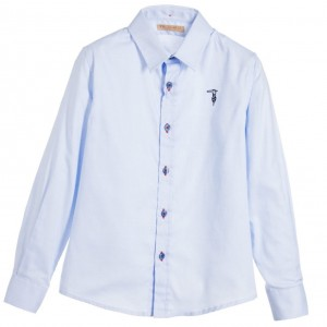 TRUSSARDI Boys Light Blue Oxford Cotton Shirt