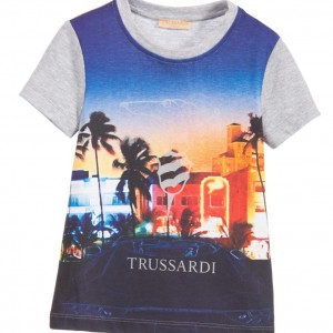 TRUSSARDI Boys Marl Grey T-Shirt with Miami Print