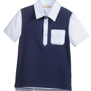TRUSSARDI Boys Navy Blue Polo Shirt
