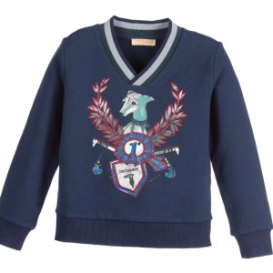 TRUSSARDI Boys Navy Blue Sweatshirt with Logo