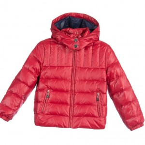 TRUSSARDI Boys Red Down Padded Puffer Jacket with Hood