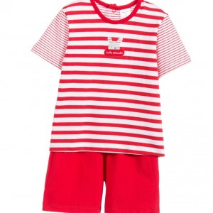 TUTTO PICCOLO Baby Boys Red & White 2 Piece Shorts Set