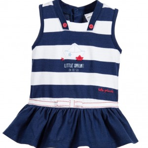 TUTTO PICCOLO Baby Girls Navy Blue Sailor Dress with Knickers