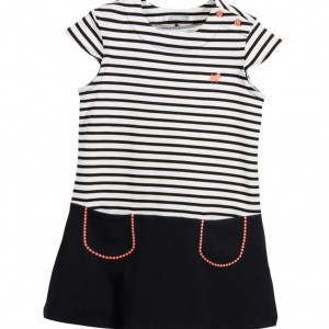 TUTTO PICCOLO Black & White Striped Cotton Jersey Dress