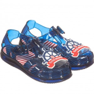 TUTTO PICCOLO Blue & Red Nautical Jelly Shoes