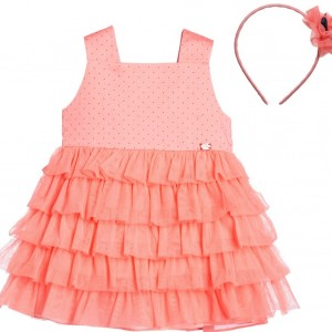 TUTTO PICCOLO Coral Pink Dress with Hairband & Clip