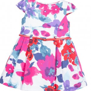 TUTTO PICCOLO Floral Cotton Dress with Belt