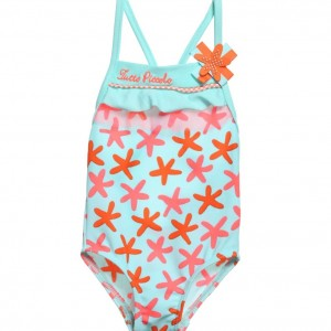 TUTTO PICCOLO Girls Green & Orange Starfish Print Swimsuit