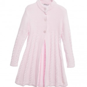 TUTTO PICCOLO Girls Pink Wool & Cotton Knitted Coat