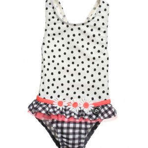 TUTTO PICCOLO Girls White Polka Dot Suimsuit