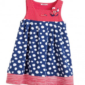 TUTTO PICCOLO Navy Blue & Red Cotton Dress