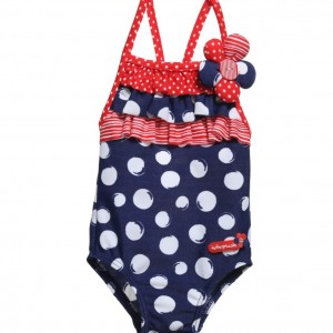 TUTTO PICCOLO irls Navy Blue Spotty Swimsuit with Frills
