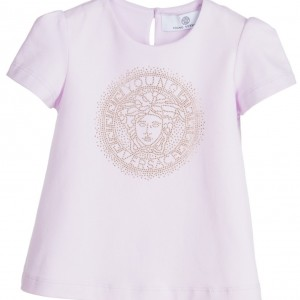 YOUNG VERSACE Baby Girls Lilac Cotton Gold Studded Medusa Top