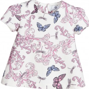 YOUNG VERSACE Baby Girls Pink & Blue Cotton Butterfly Print Top
