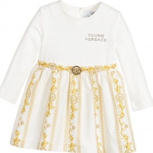 YOUNG VERSACE Baby Girls White & Gold 'Cornici' Dress