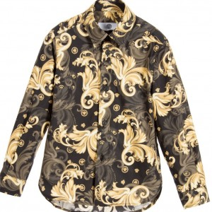 YOUNG VERSACE Boys Black & Gold Cotton 'Barocco' Shirt