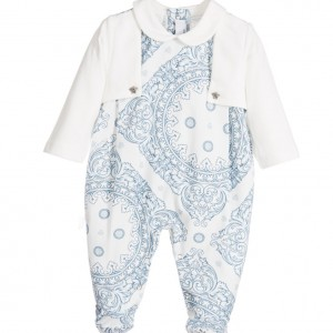YOUNG VERSACE Boys Blue 'Maioliche' Layered Cotton Jersey Babygrow