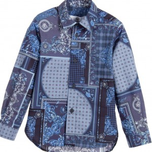 YOUNG VERSACE Boys Blue 'Patch Foulard' Print Cotton Shirt