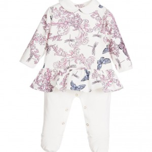 YOUNG VERSACE Girls 'Butterfly' Layered Cotton Jersey Babygrow