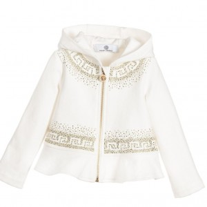 YOUNG VERSACE Girls Ivory & Gold Hooded Fleece Zip-Up Top