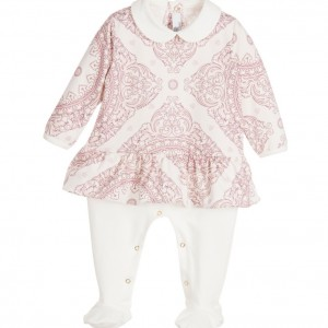 YOUNG VERSACE Girls Pink & White 'Maioliche' Peplum Dress Babygrow