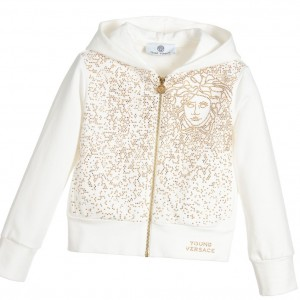 YOUNG VERSACE Girls White & Gold Studded Medusa Zip-Up Hooded Top