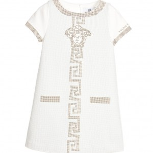 YOUNG VERSACE White & Gold Studded Cotton Jersey Shift Dress