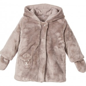 ABSORBA Grey Synthetic Fur Coat with Mittens