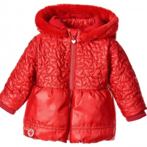 AGATHA RUIZ DE LA PRADA Red Lightly Padded Coat with Removable Hood