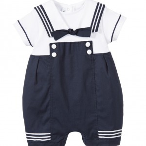 ALETTA Baby Boys Navy Blue Sailor Shortie & Gift Box