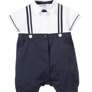 ALETTA Baby Boys Navy Blue & White Shortie with Gift Box
