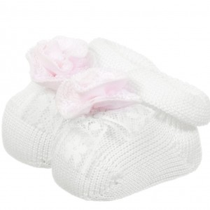 ALETTA Baby Girls White Cotton Bootees with Pink Lace Flower