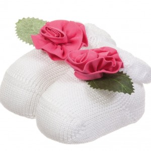 ALETTA Baby Girls White Cotton Socks with Pink Flower