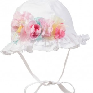 ALETTA Baby Girls White Cotton Sun Hat