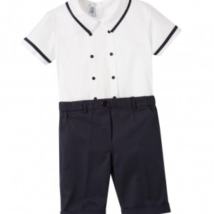 ALETTA Boys White Cotton Top & Navy Blue Shorts Set