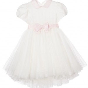 ALETTA Ivory Lace Dress with Pink Ribbon Belt
