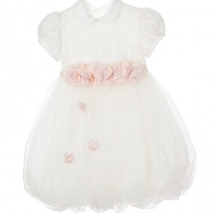 ALETTA Ivory Tulle Dress with Pink Flower Belt