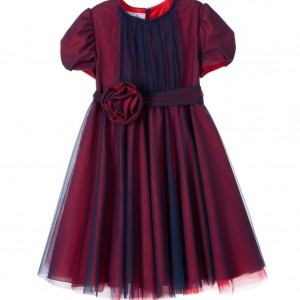 ALETTA Red & Blue Tulle Dress with Rose Belt