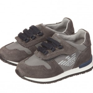 ARMANI JUNIOR Boys Grey Suede Leather Trainers