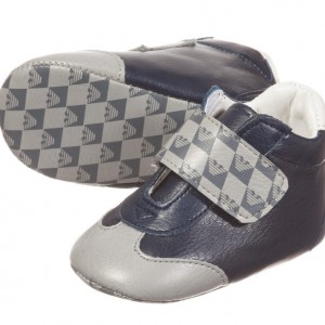 ARMANI NEWBORN Baby Boys Synthetic Leather Pre-Walker Trainers