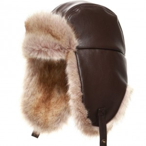 ARMANI TEEN Boys Brown Synthetic Leather & Fur Hat