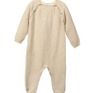 BELLY BUTTON Beige Organic Knitted Cotton Babygrow
