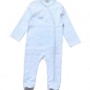 BELLY BUTTON Blue & White Striped Cotton Babygrow