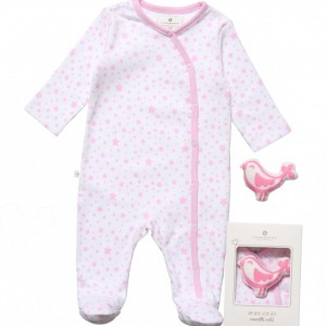 BELLY BUTTON Pink Star Babygrow & Bird Toy Gift Set