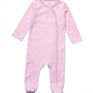 BELLY BUTTON Pink & White Striped Cotton Babygrow