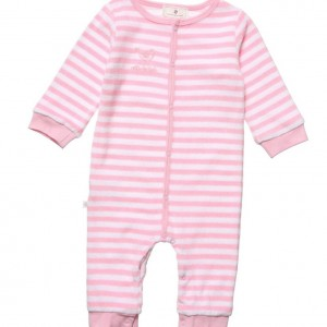 BELLY BUTTON Pink & White Striped Towelling Babygrow