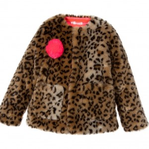 BILLIEBLUSH Girls Leopard Printed Synthetic Fur Jacket