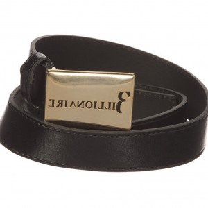 BILLIONAIRE Boys Black Leather Belt with Gold Buckle