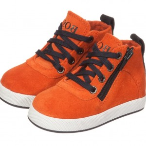 BOSS Boys Orange Nubuck Suede High-Top Trainers