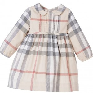 BURBERRY Baby Girls Beige Check Dress